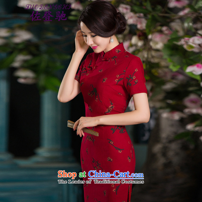 Sato Log?qipao聽Summer 2015 new stylish improved cheongsam dress linen retro short-sleeved qipao Sau San NC3219026 SAMUI RED聽M