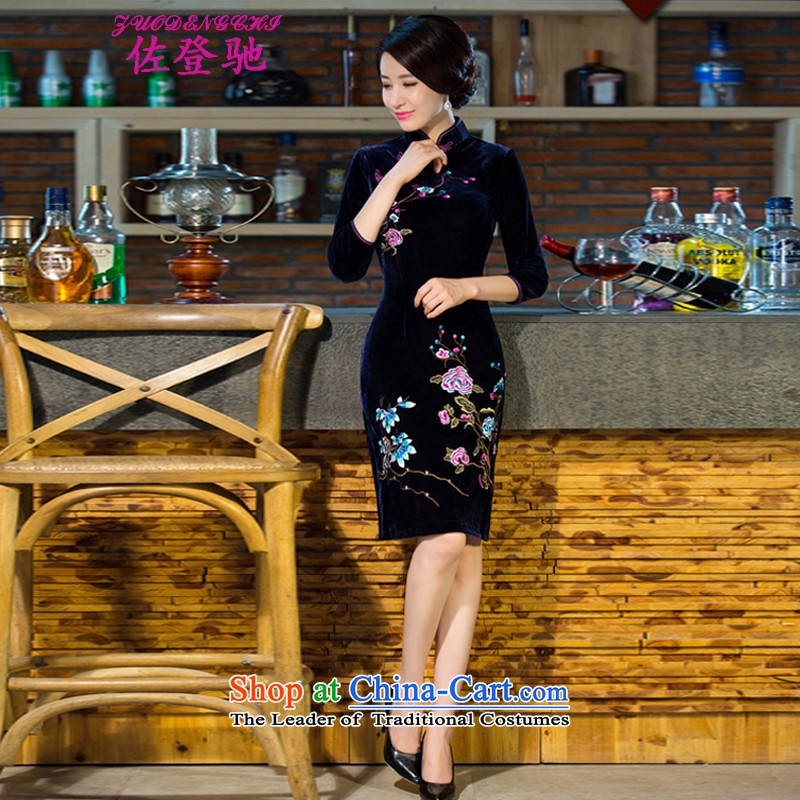 Sato Log?? 2015 new MOM pack wedding Kim scouring pads retro dresses improved evening dresses qipao NC3219037 navy,?L