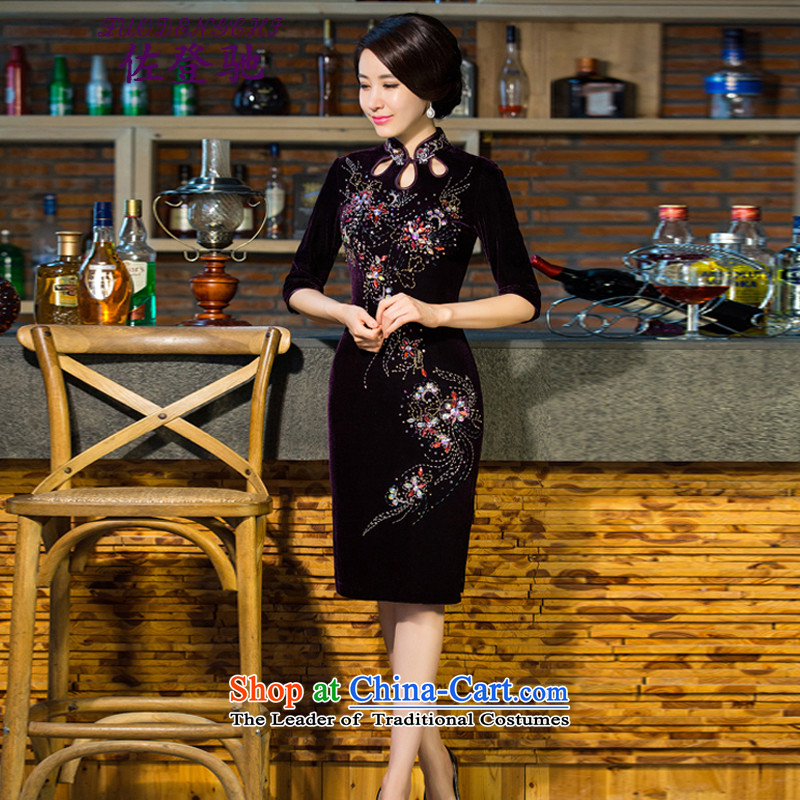 Sato Log?Boxed?2015 new moms autumn and winter Kim scouring pads dress retro dresses with improved female qipao mother skirt NC3219039 PURPLE?M