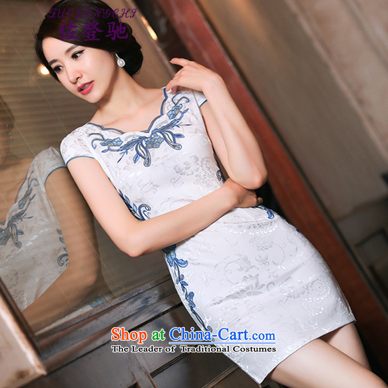 Sato Log?聽2015 summer gown improved female cheongsam dress retro-day short of Sau San qipao gown NC3219035 blue flowers聽XL