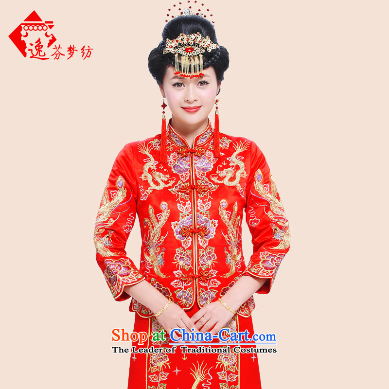 Stephen dream woven-Soo-il Wo Service Chinese Dress 2015 new bride bows services to the dragon costume use Wedding dress-hi-wedding gown Bong-Koon-hsia previous Popes are placed RED燤
