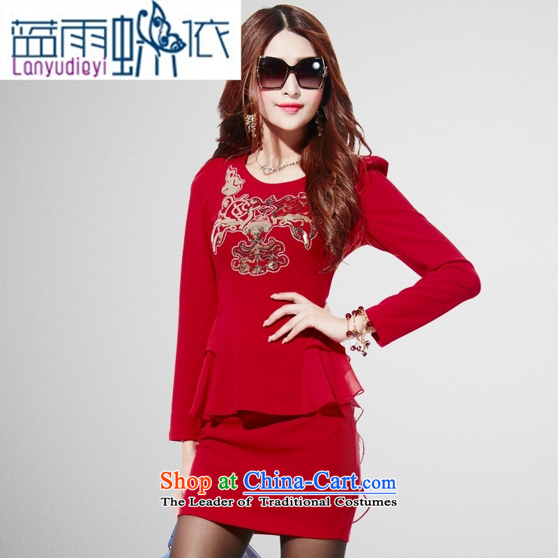 Ya-ting shop 2015 Autumn load new women's dresses and stylish package and western embroidery t-shirt + Leisure short skirt two kits red聽L
