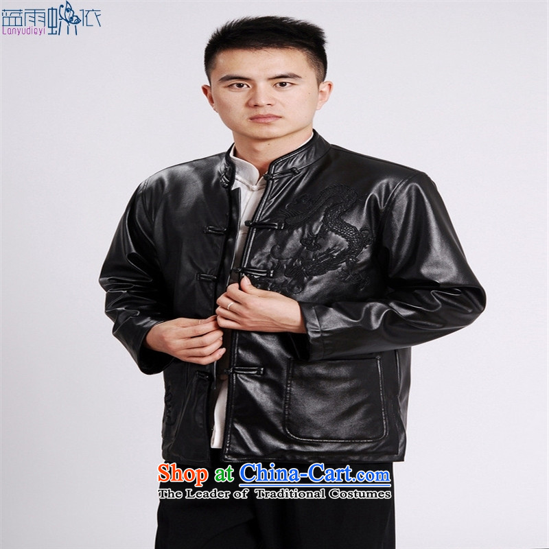 Tang Dynasty Chinese men's leather jacket M0041-a Black XL