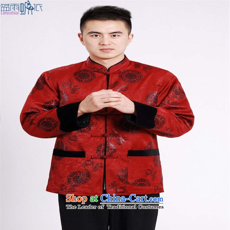 Tang blouses men Chinese robe  M0037  XXXL red