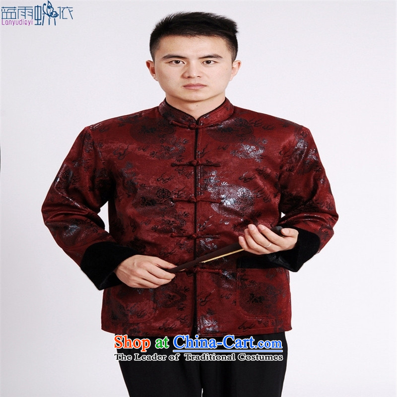 Tang Blouses Chinese men and Tang dynasty M0038-a wine red XL