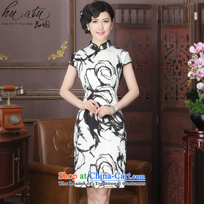 It New Silk Cheongsam dress Chinese ink painting collar herbs extract improvement long gown of Qipao�L Ruoxi