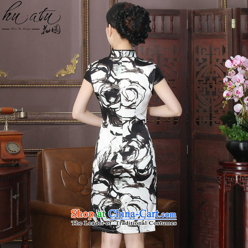 It New Silk Cheongsam dress Chinese ink painting collar herbs extract improvement long gown of Qipao聽3XL, XI Floral shopping on the Internet has been pressed.