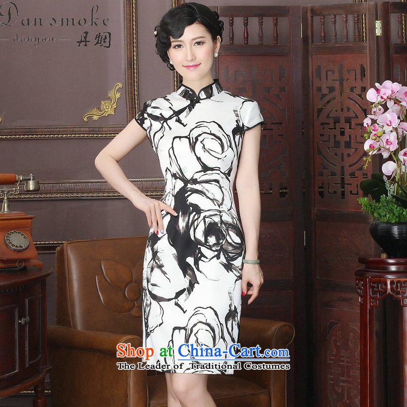 Dan smoke New Silk Cheongsam dress Chinese ink painting collar herbs extract improvement long gown of qipao turbid M