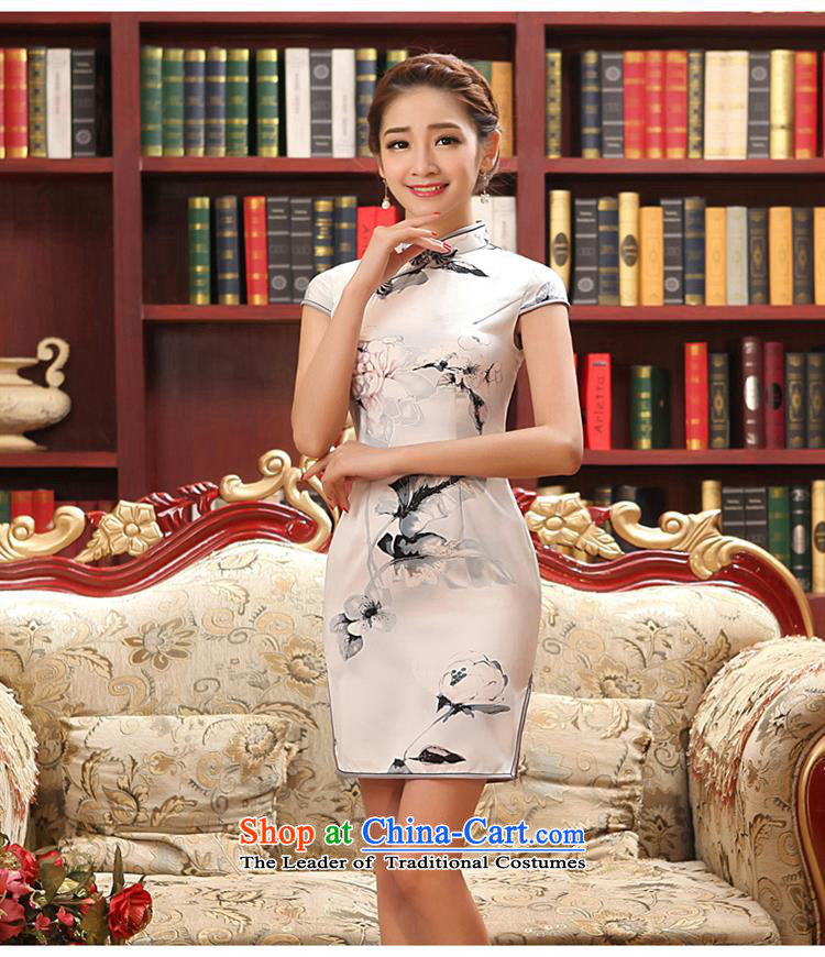 2015 New Silk Cheongsam collar summer short of daily Sau San ethnic stylish qipao figure聽S picture, prices, brand platters! The elections are supplied in the national character of distribution, so action, buy now enjoy more preferential! As soon as possible.