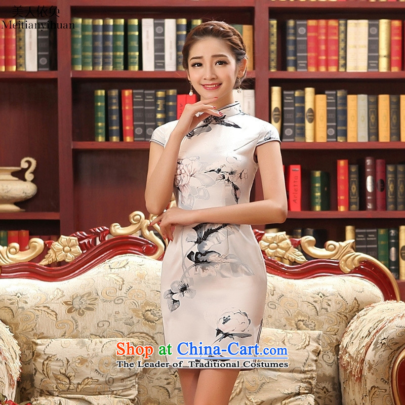 2015 New Silk Cheongsam collar summer short of daily Sau San ethnic stylish qipao figure聽S