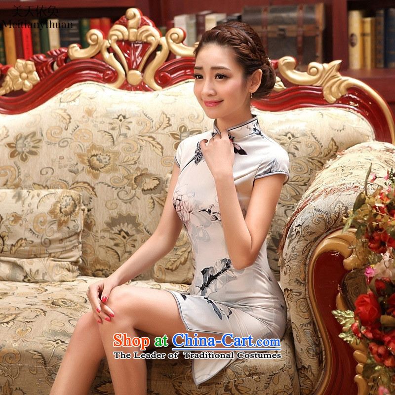 2015 New Silk Cheongsam collar summer short of daily Sau San ethnic stylish figure聽S, American qipao days in accordance with the property (meitianyihuan) , , , shopping on the Internet