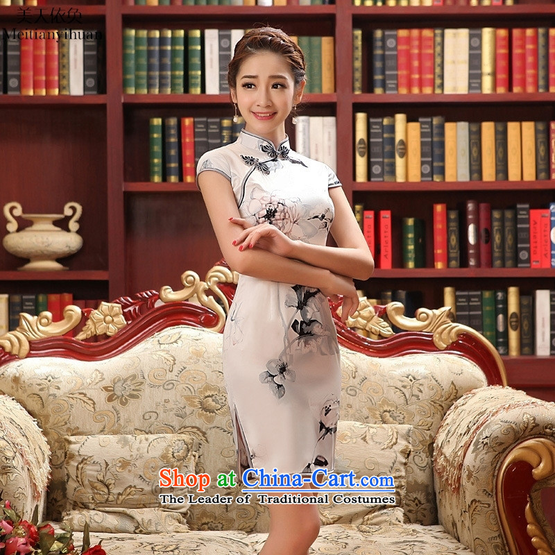 2015 New Silk Cheongsam collar summer short of daily Sau San ethnic stylish figure S, American qipao days in accordance with the property (meitianyihuan) , , , shopping on the Internet