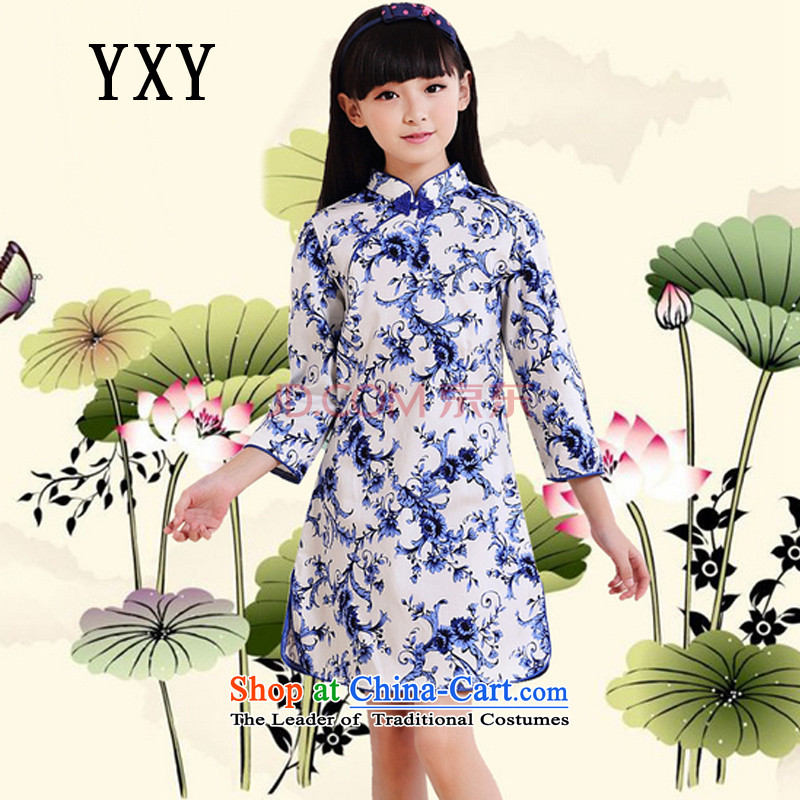 The Cloud's stake of children's wear girls cotton improved cheongsam dress vests children dresses�MT51601�porcelain�120cm