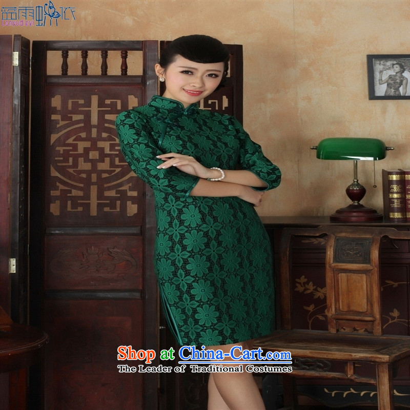 Tang dynasty qipao TD0020 new ethnic women lace velvet cheongsam dress Sau San 7 Cuff green�S