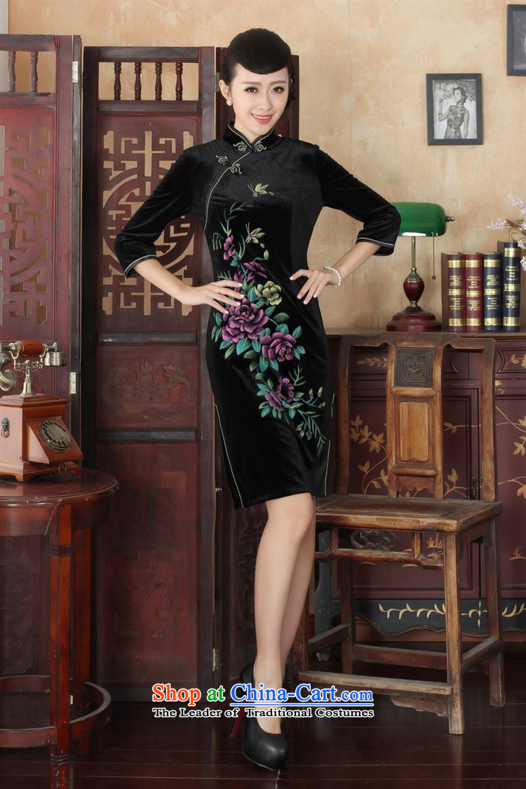Tang dynasty qipao Td0026-a New hand-painted flowers and the Stretch Wool qipao seven really cuff wine red聽L picture, prices, brand platters! The elections are supplied in the national character of distribution, so action, buy now enjoy more preferential! As soon as possible.