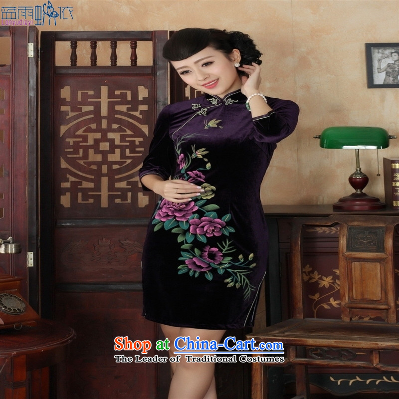 Tang dynasty qipao Td0026-a New hand-painted flowers and the Stretch Wool qipao seven really cuff wine red聽, L, blue rain butterfly according to , , , shopping on the Internet