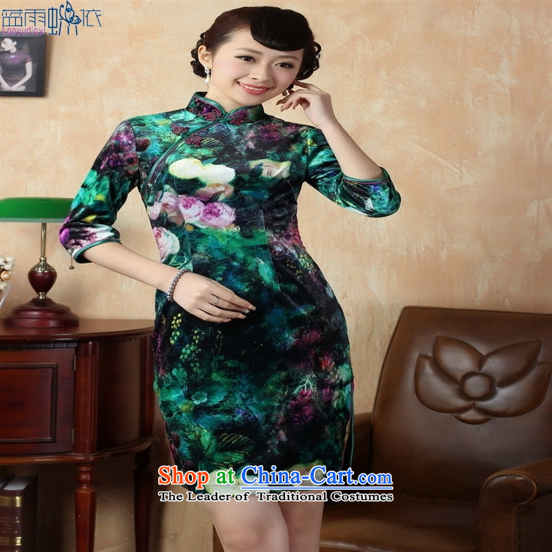 Tang Dynasty qipao聽TD0007聽Stretch Wool poster stylish Kim in classic short-sleeved qipao picture color聽M