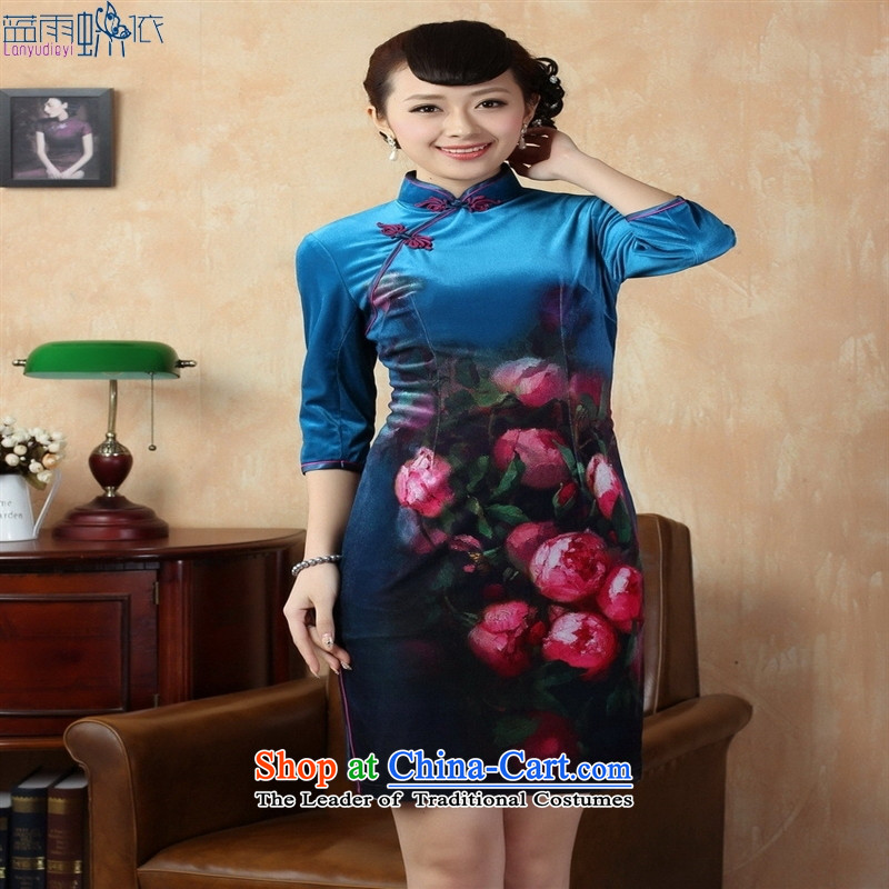 Tang Dynasty qipao�TD0004�Stretch Wool poster stylish Kim in classic short-sleeved qipao Doha Tsing�XXL