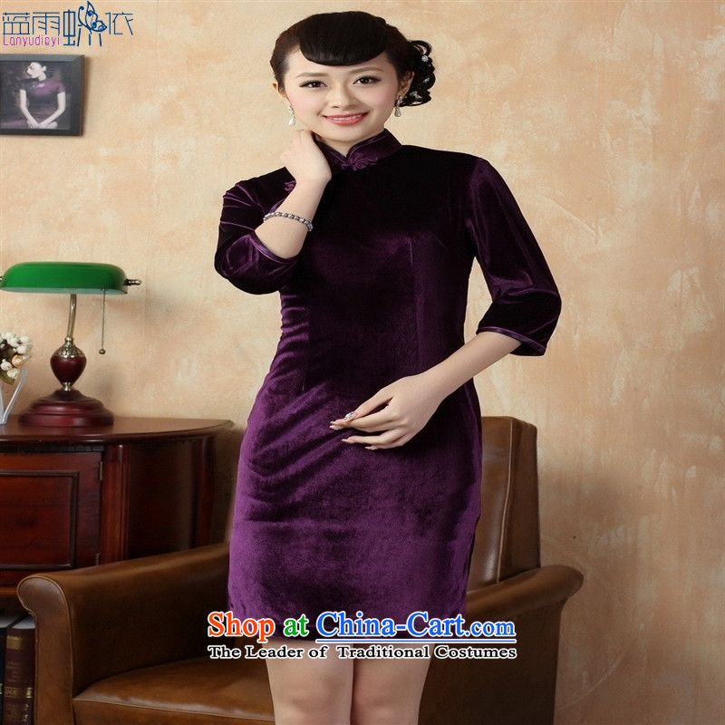 Tang dynasty qipao Td0005-b New Pure color and the Stretch Wool qipao seven gold cuff violet XXL