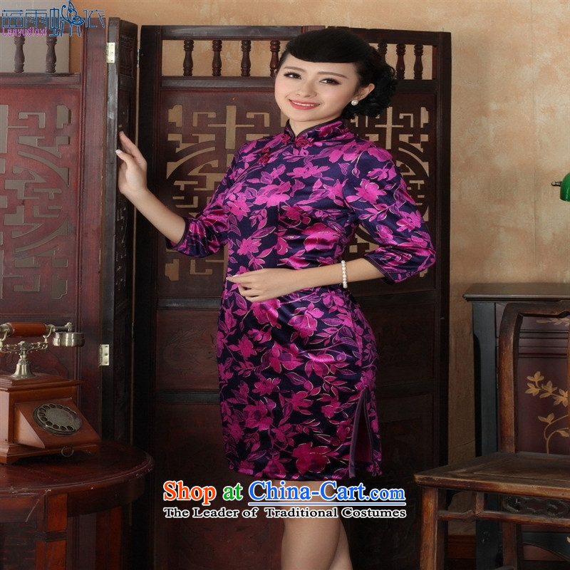 Tang dynasty qipao TD0027 new ethnic women Kim velvet cheongsam dress Sau San 7 Cuff Color Picture�XXL