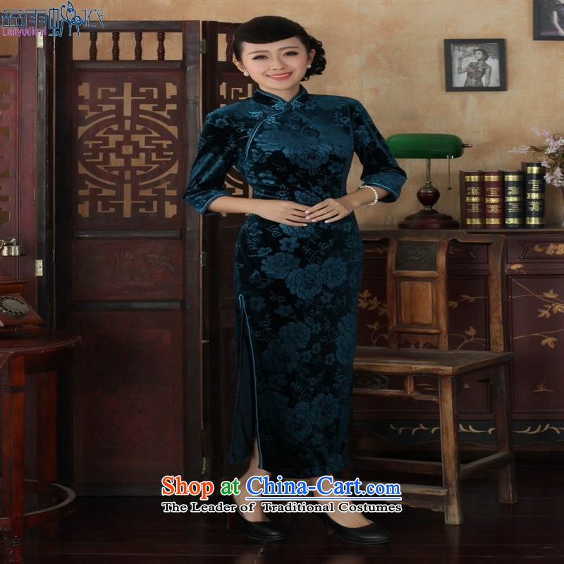 Tang dynasty qipao T0002 new pure color and the Stretch Wool qipao seven gold cuff picture color聽XXL