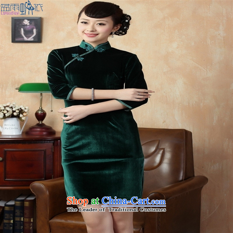 Tang dynasty qipao Td0005-c New Pure color and the Stretch Wool qipao seven gold cuff green XL