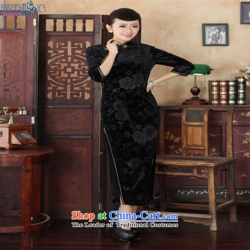 Tang dynasty qipao T0002-a New Pure color and the Stretch Wool qipao seven gold-sleeved black聽XXL