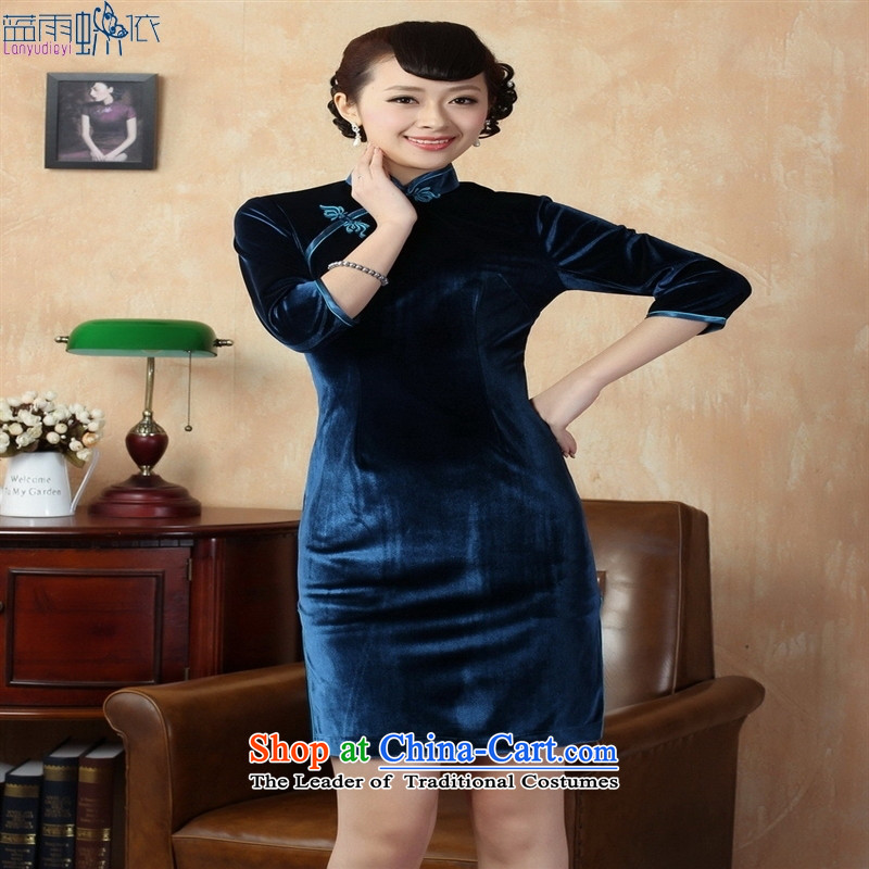 Tang dynasty qipao Td0005-d New Pure color and the Stretch Wool qipao seven gold cuff Doha Tsing聽XL