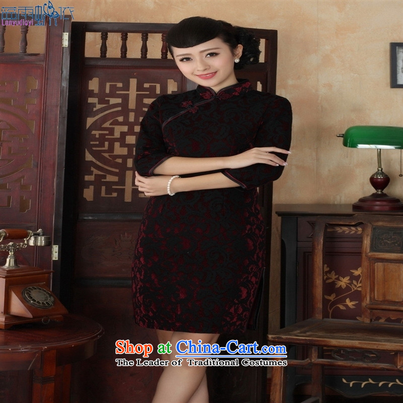 Tang dynasty qipao TD0022 new ethnic women lace cheongsam dress Kim scouring pads Sau San 7 Cuff Color Picture�L
