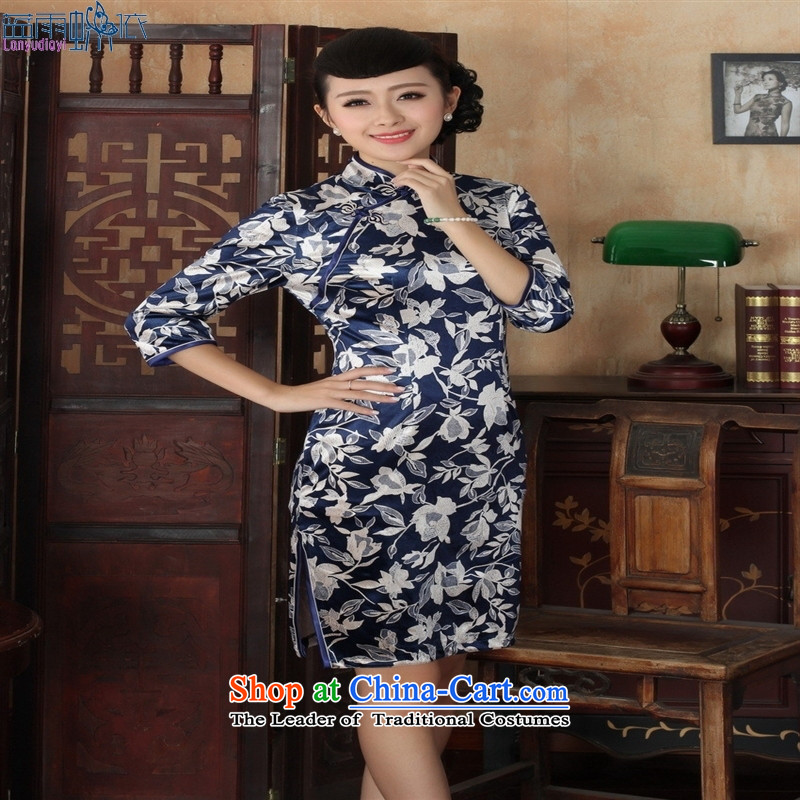 Tang dynasty qipao Td0027-a new ethnic women Kim velvet cheongsam dress Sau San 7 Cuff Color?XXXL picture