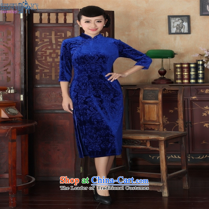 Tang dynasty qipao TD00039 new pure color and the Stretch Wool qipao seven gold cuff blue XXL