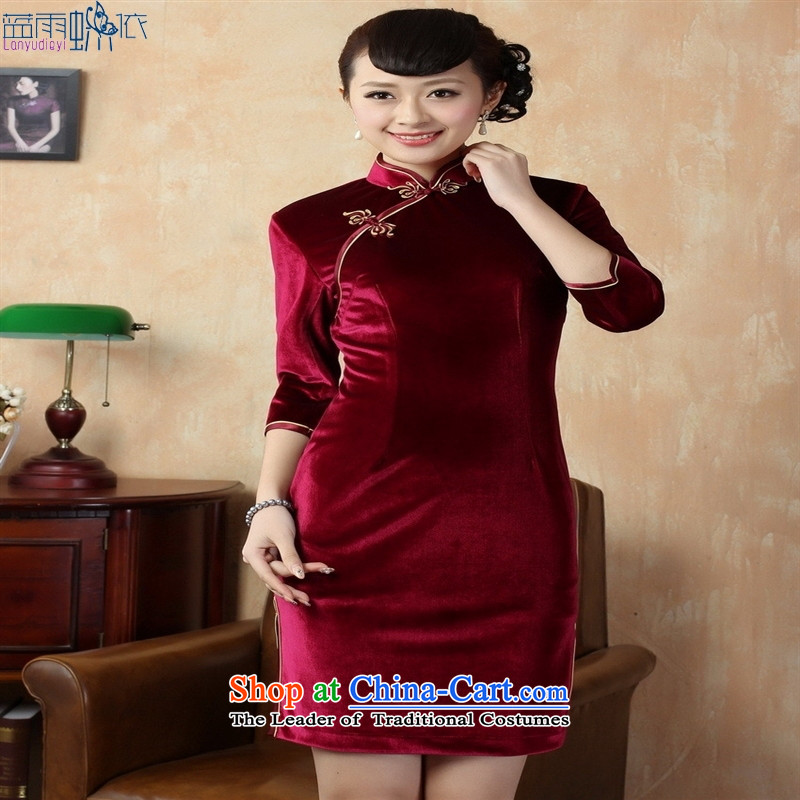 Tang dynasty qipao TD0005 new pure color and the Stretch Wool qipao seven really cuff XXXL wine red