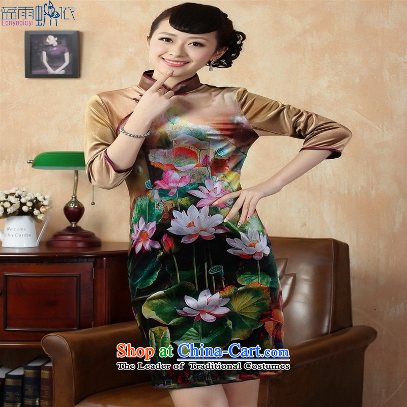 Tang Dynasty qipao TD0009 Stretch Wool poster stylish Kim in classic short-sleeved qipao picture color M