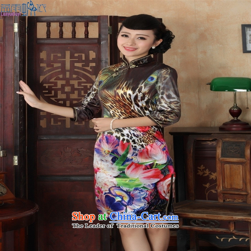 Tang dynasty qipao TD0037 new winds of national women's floral cheongsam dress Kim scouring pads Sau San 7 Cuff Color Picture�L