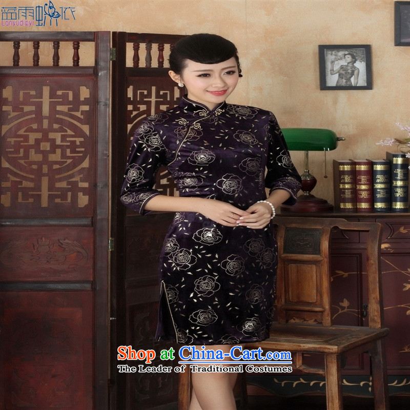 Tang dynasty qipao TD0028 new ethnic women Kim velvet cheongsam dress Sau San 7 Cuff Color Picture�M