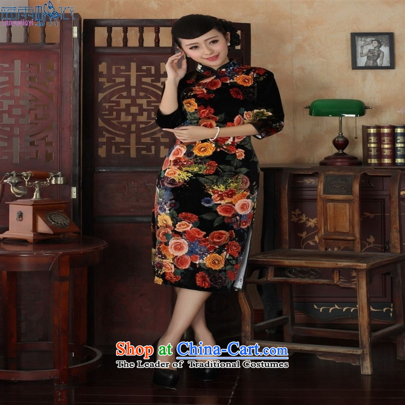 Tang Dynasty qipao聽TD0040聽Stretch Wool poster stylish Kim in classic short-sleeved qipao picture color聽M