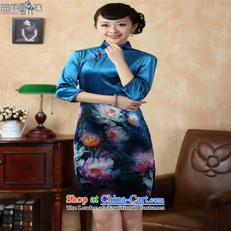 Tang Dynasty qipao TD0008 Stretch Wool poster stylish Kim in classic short-sleeved qipao picture color S