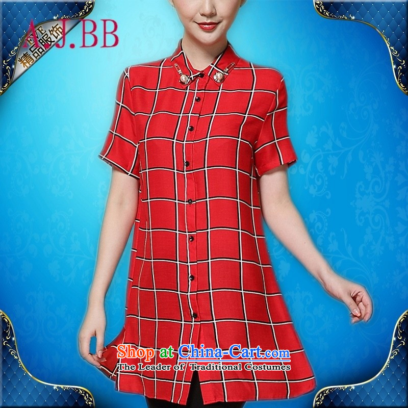 Only the 2015 summer attire vpro long latticed shirt short-sleeved shirt and leisure female thick MM loose clothes with white�L
