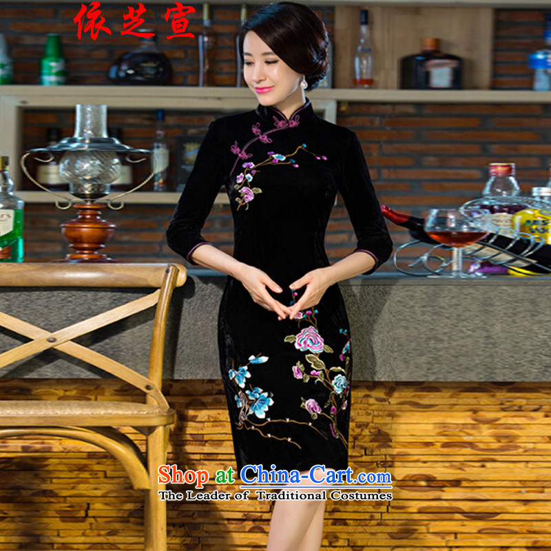 In accordance with the declared 2015 autumn and winter, Cecilia new moms with scouring pads in the skirt qipao Kim sleeve length) Improved retro wedding black�M