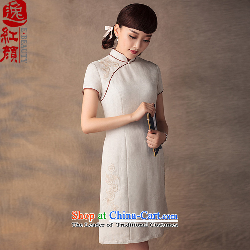 A Pinwheel Without Wind Sunny Sophie Yat cheongsam dress summer improved stylish Sau San cheongsam dress khaki聽XL