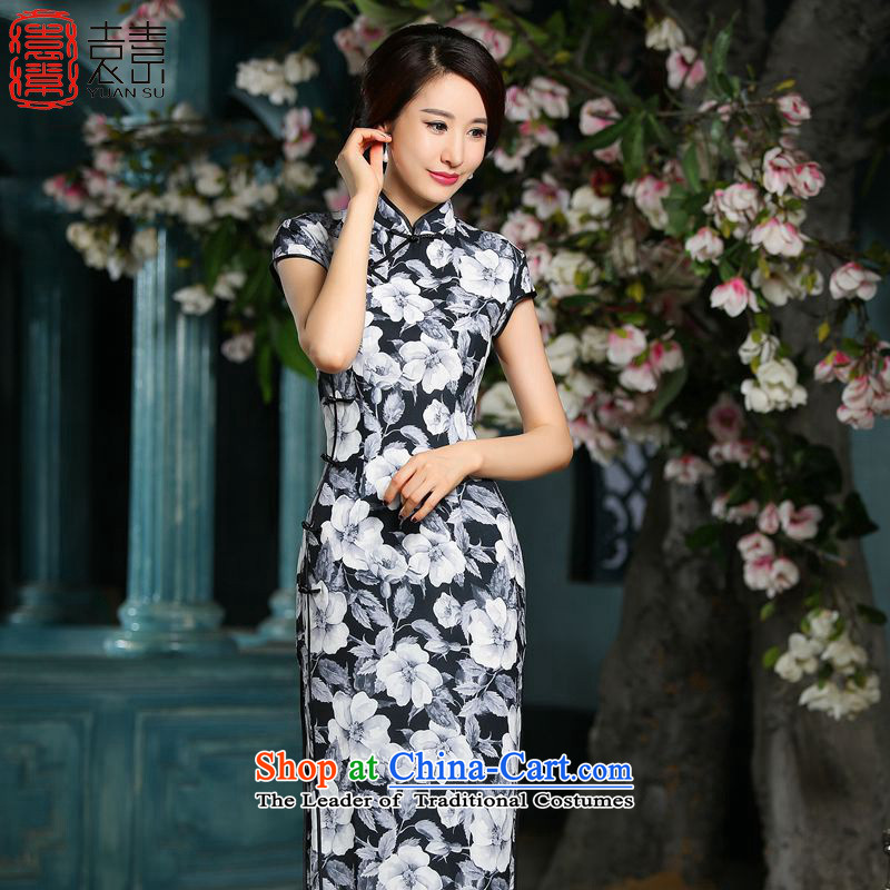 The star of the yuan on slow聽2015 stylish new daily qipao skirt improved銆丵ipao Length of Chinese qipao gown long聽ZA715聽black聽XXL