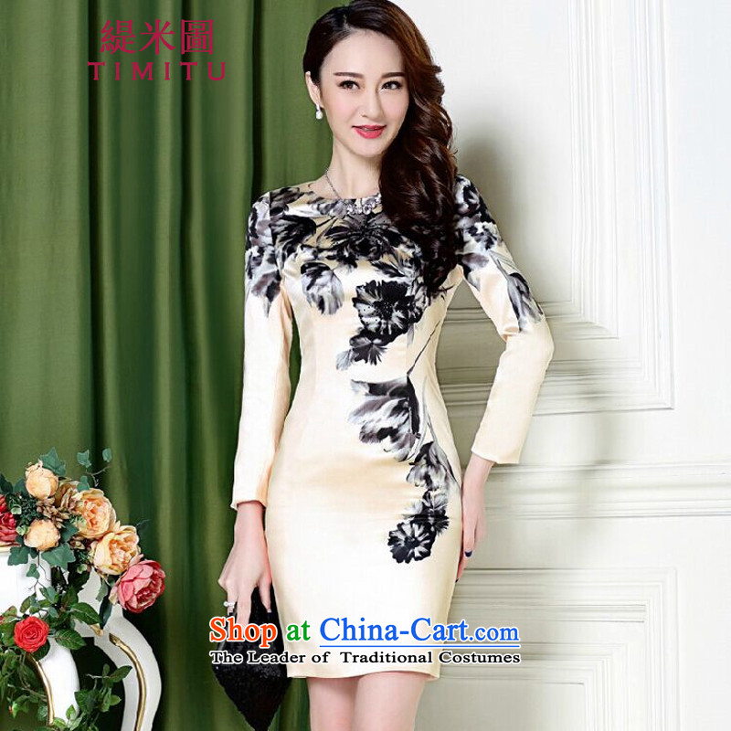 Economy figure in spring and autumn 2015 female new Silk Cheongsam elegance package and Sau San step skirt retro ink dress female apricot�XL