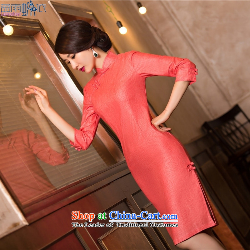 The new summer qipao collar cheongsam dress stylish linen cheongsam dress Inland Lot No. 11076 XL