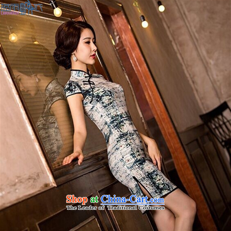 The new summer stylish qipao skirt daily retro         elegant qipao Ms. dresses Korea silk ink聽XL