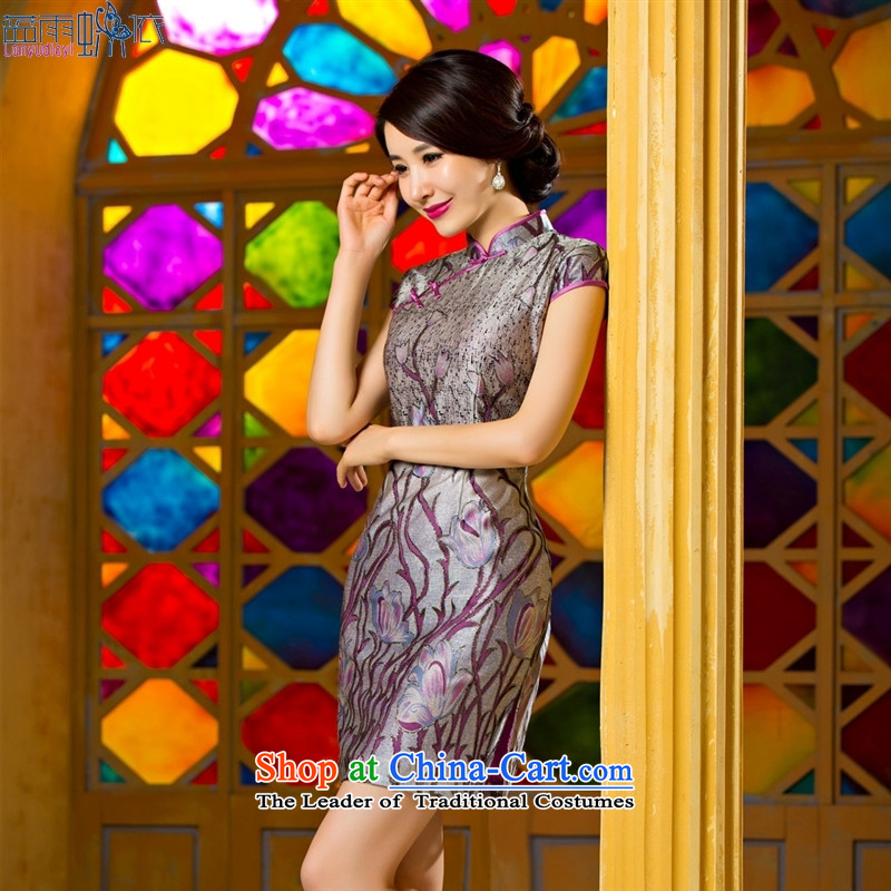 The new summer and fall of Stylish retro dresses Sau San daily sexy elegant qipao skirt temperament qipao tulip聽75075 XXL