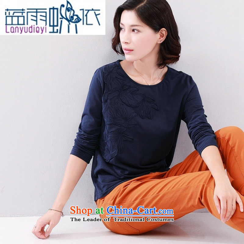 2015 Autumn new for women pure color t-shirt with round collar female elastic Sau San decals forming the Netherlands long-sleeved T-shirt female navy blue?L