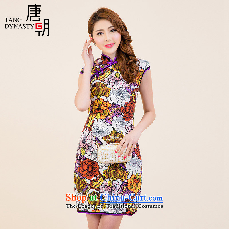 The Tang dynasty?2015 Summer new improved daily qipao retro stamp Sau San dresses TXF50779 female white oiwa TOKA?XXL