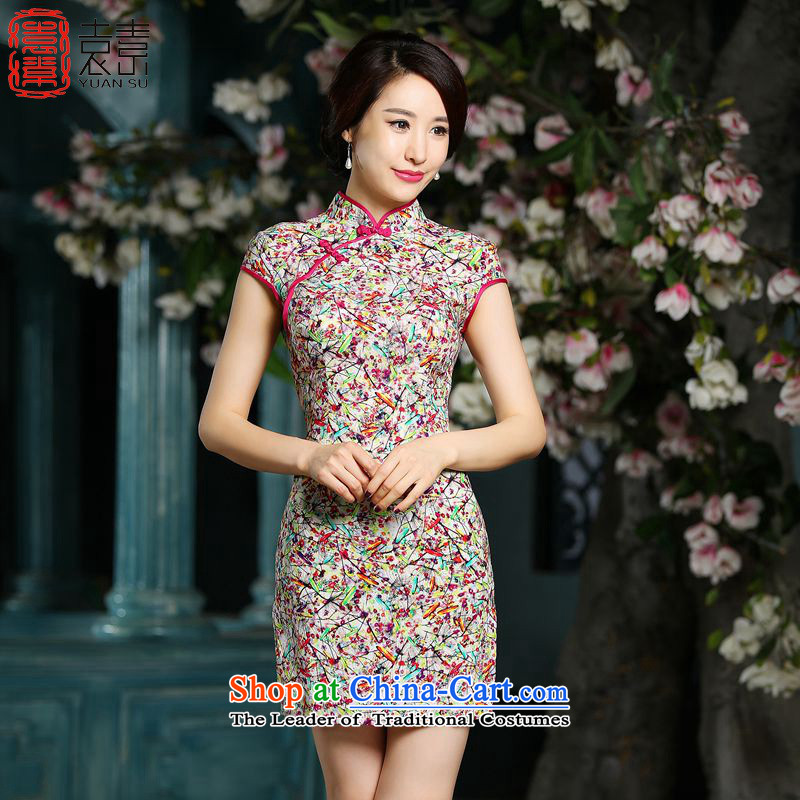The Yasukuni Shrine of Yuen�2015 new cheongsam dress summer Ms. resiliency qipao improved short-sleeved retro cheongsam dress�ZA708�Suit�M