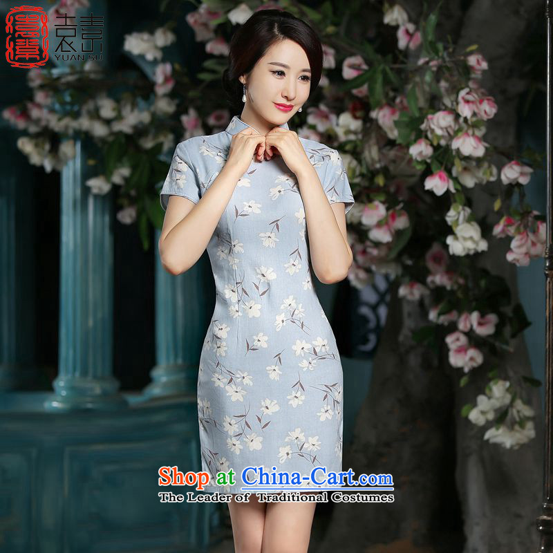 4 YUEN of economic?2015 Summer stylish cheongsam dress new cotton linen retro qipao improved day-to-day Ms. cheongsam dress?ZA703?POWDER BLUE?XL