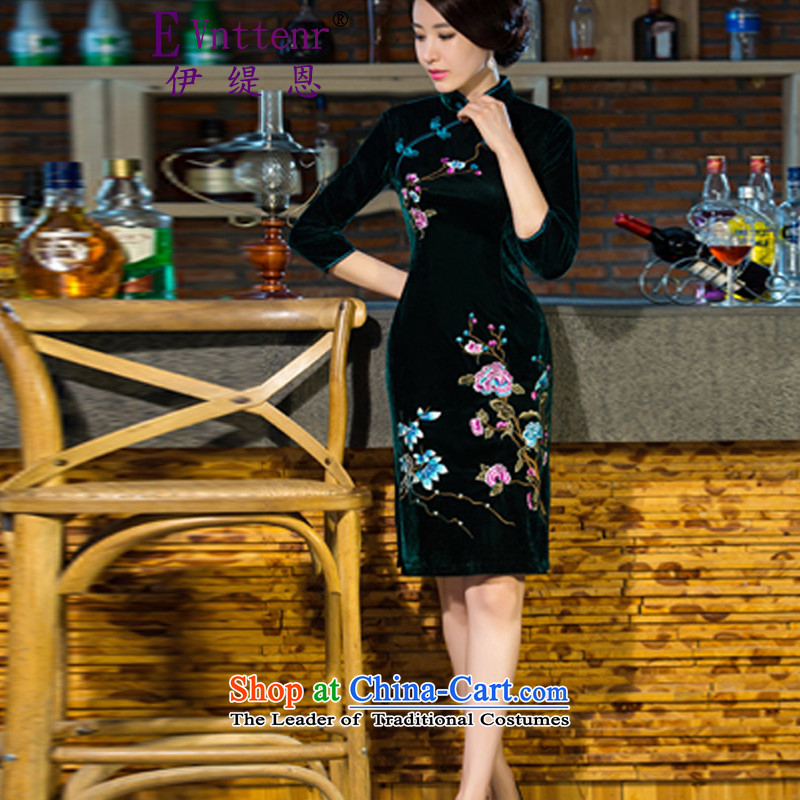 Iran and isle of 2015 autumn and winter new moms with scouring pads in the skirt qipao Kim sleeve length_ Improved retro wedding green XL